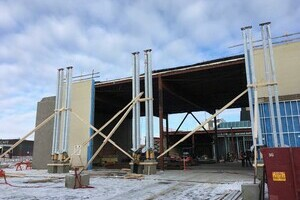 Glulam Column Install - Mountain Equipment Coop (MEC), Saskatoon